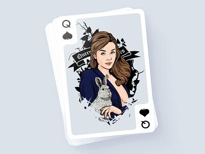 IBM Playing card illustration girl portrait
