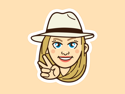 Sticker Anne Kawaii logo design character vecto woman illustration peace hat vector portrait girl cartoon