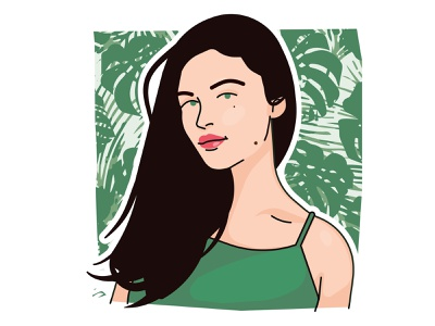 Margaux plant green vexel woman illustration vector portrait girl