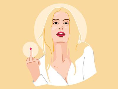 Fuck You ! - Joséphine stroke fuck off fuck yeah pure rebel hand fuck blondie blond woman vexel illustration vector girl portrait