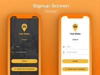 Taxi App Signup Screen