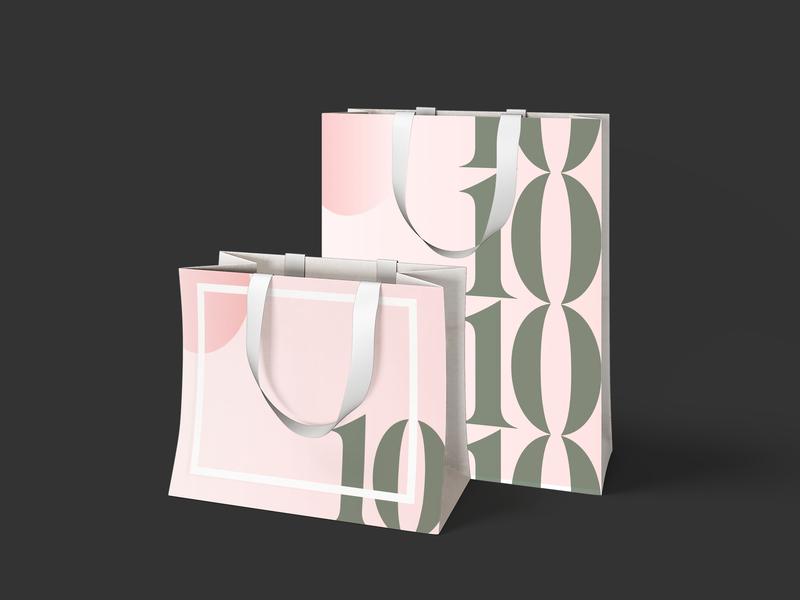 10me - Carry Bags modern feminine pink green graphic collateral merchandise shopping bag shopping perfume fragrance herbal skincare luxury serif gradient mockup branding packaging