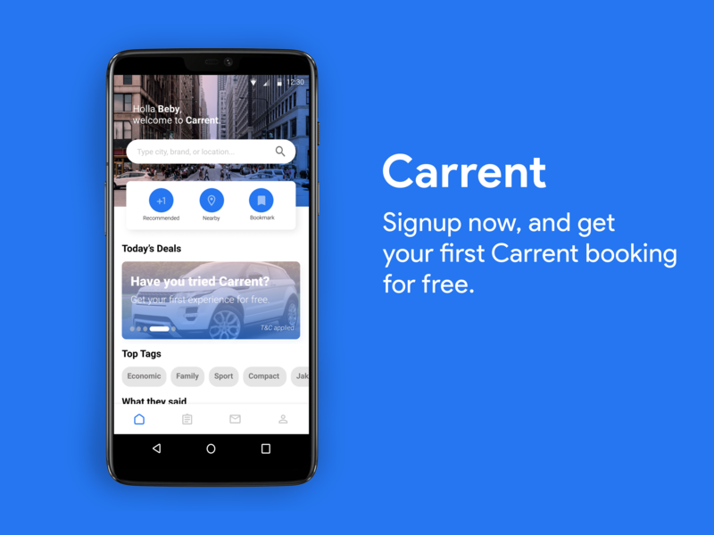 Carrent Android figma concept clean app design app branding ui branding android homepage ads
