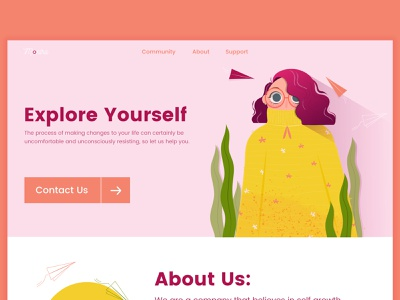 Explore yourself 🌼 mobile design nature girl leaves paper planes self motivation calm ui design lading page web design character design people new creative design colours illustration