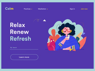 Calm Landing Page relax happy nature web design paperplane leaves cat girl avatar human vector ui people new flat creative fresh design colours illustration