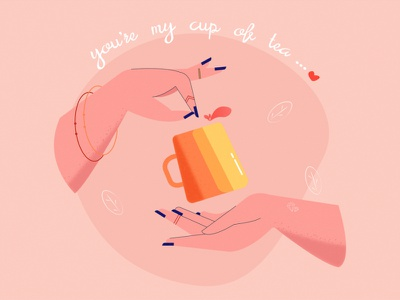 you're my cup of tea gta 6 leaves cup tea hands vector minimal new artwork flat creative fresh design colours illustration