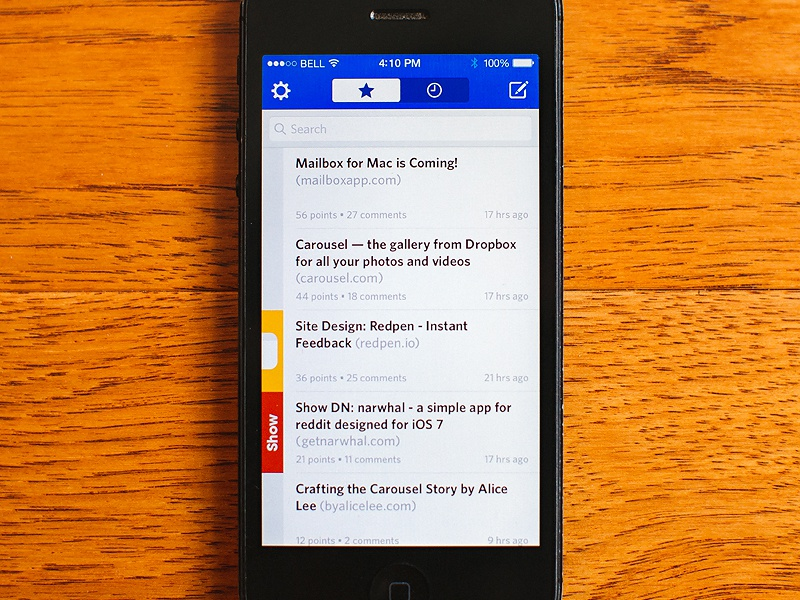 Designer News for iPhone ui interface ux mobile app iphone ios flat clean blue designer news ios7
