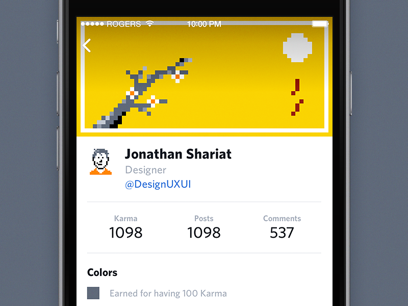 Designer News for iPhone — User Profile ui ux ios iphone interface redesign mobile app cover profile yellow designer news