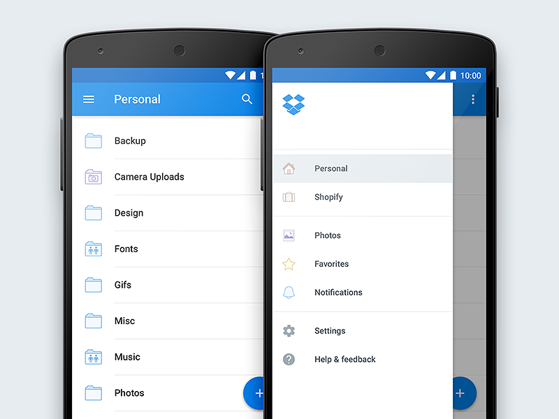 Dropbox for Android Material Redesign dropbox material android ui ux lollipop flat clean mobile interface redesign blue