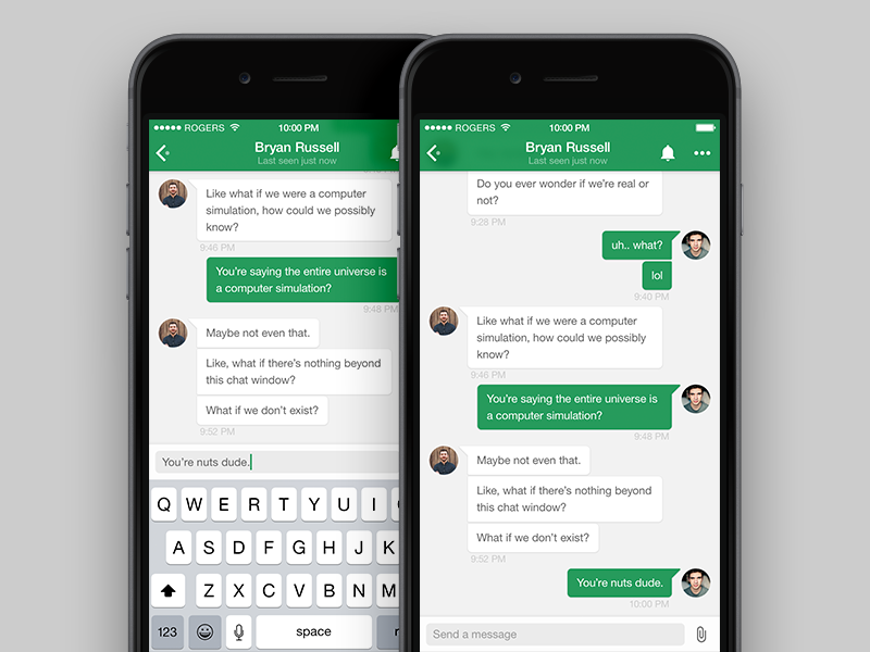 Google Hangouts for iPhone Redesign ui app green iphone ux interface ios clean mobile flat redesign hangouts