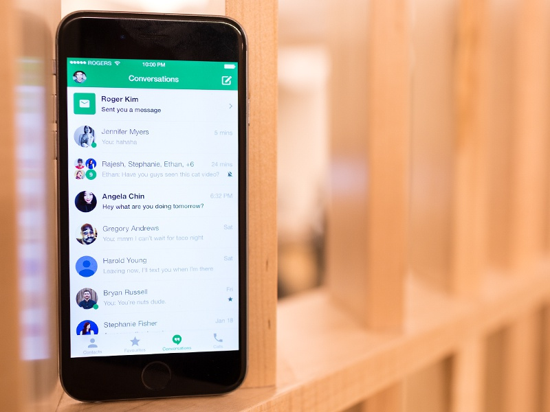 Google Hangouts for iPhone Redesign hangouts redesign flat mobile clean ios interface ux iphone green app ui