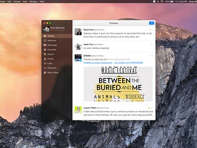 Tweetbot for Mac Redesign ui app ux interface flat redesign blur clear mac tweetbot yosemite os x