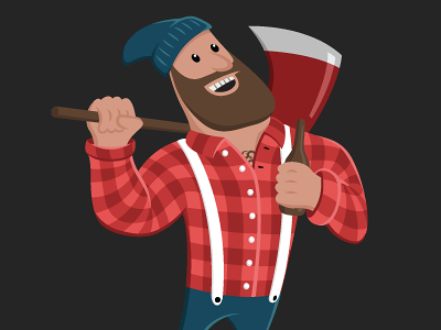 Lumberjack v2 canada lumberjack illustration vector red blue plaid simple cartoon