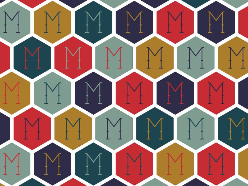 The Mayhew Pattern No. 2 lodge hotel boutique symmetry minneapolis upnorth minnesota hexagon tile monogram illustrator pattern