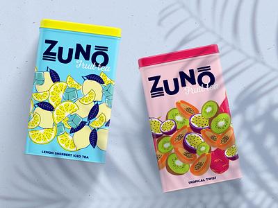 ZUNO Fruit Tea packaging design branding concept