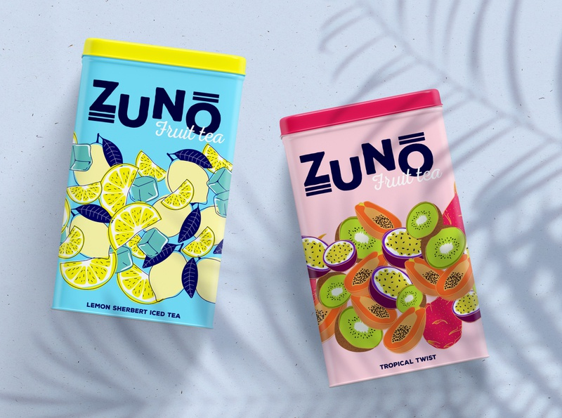 ZUNO Fruit Tea packaging design branding concept
