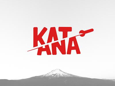 Katana art identity minimal design type typography branding flat vector illustration logo design concept graphic design fudziyama hidden negative space red logo japanese japan katana