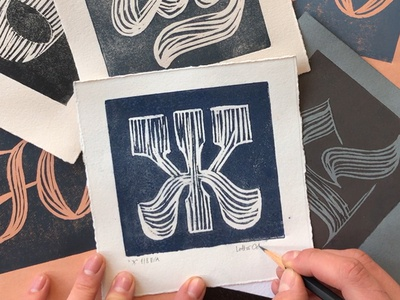 Handprinted Cyrillic collection art hand printed collection card art ink hand crafted cyrillic hand printing linocut graphic art texture typography art typography design handmade bezierclub lettercollective custom lettering