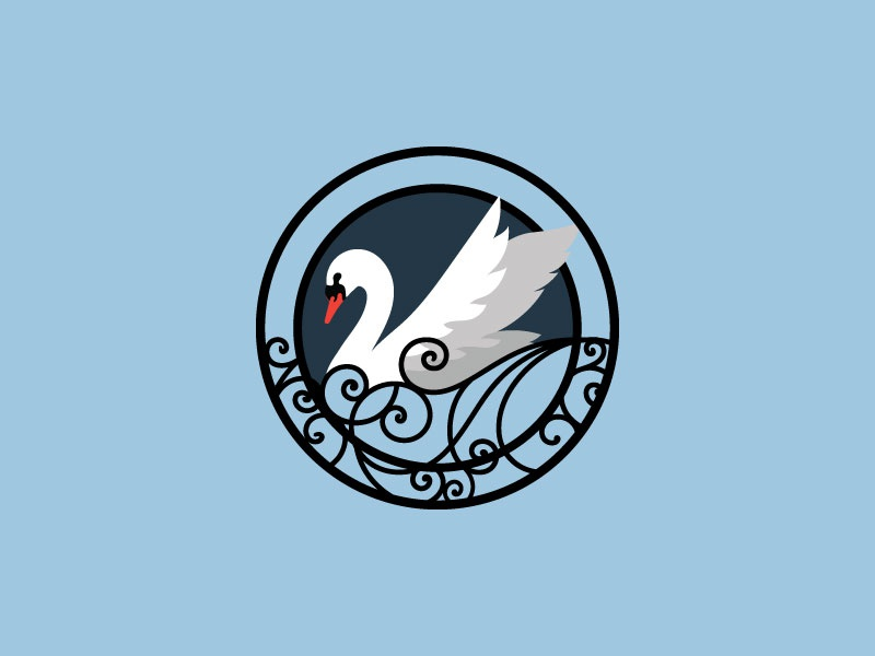 Swan Logo design water blue swimming floating illustration pub swan