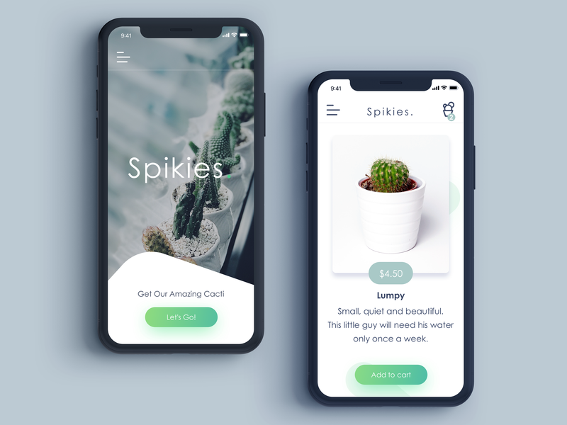 Spikies branding ux design ui design buttons mobile sketch illustrator cactus cacti application ecommerce mobile app app design icon vector