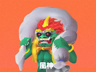 Fujin The God of Wind asian tale vector illustration japanese fujin