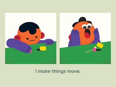 i make things moooooove motion designer fun character name card vector illustration