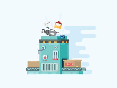Lead Generator illustration vector flat generator generation machine robot leadgen