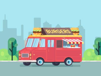 Food Truck bbq trucker city fastfood burger flat design vector truck foodtruck