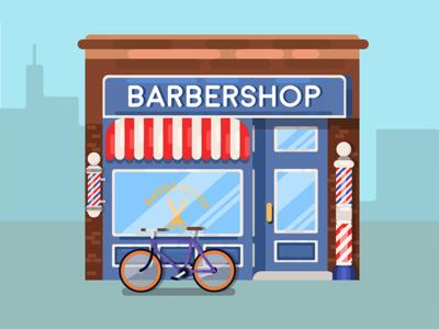 Barbershop design vector art flat vector bicycle bike scissors barber barbershop