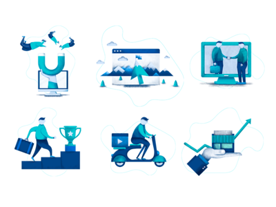 Customer Acquisition Secrets icons geolocation champ cup delivery shop business icons leads customers magnit flat vector