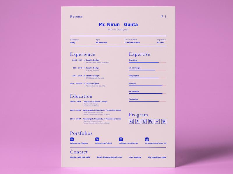 Resume Nirun Gunta 2019 paper a4 layout graphic resume