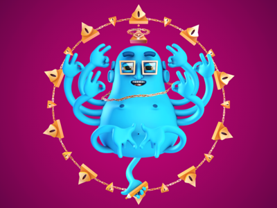 ILLUDHA c4d mograph motion illuminati budha character illustration 3d