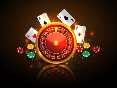 Casino roulette with chips. coin casino winner game. success red money card heart gold banner background
