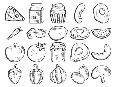 Food And Drink Icon Set. hand drawn red wine beer icon water coffee drink food