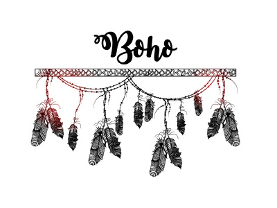 Boho style. Creative ethnic hand drawn elements abstract arrow ornaments ethnic elements boho ornamental traditional hanging feathers style