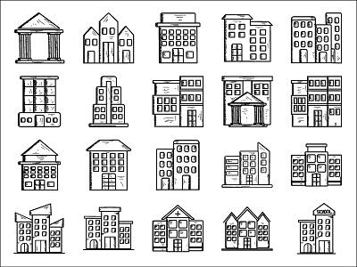 Building Vol 1 city town icon set building icon set building building icon