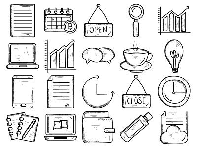 Business & finance Vol 2 mobile chat clock laptop wallet business icon business icon set business  finance