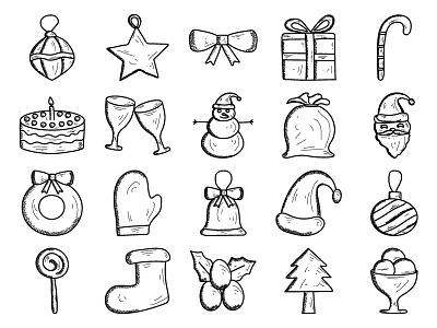 Christmas Icon Set icon icons holidays gift snowman snowflake present lollipop set christmas bell christmas icon