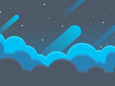 Night time dreams flat design vector illustration space clouds stars night sky