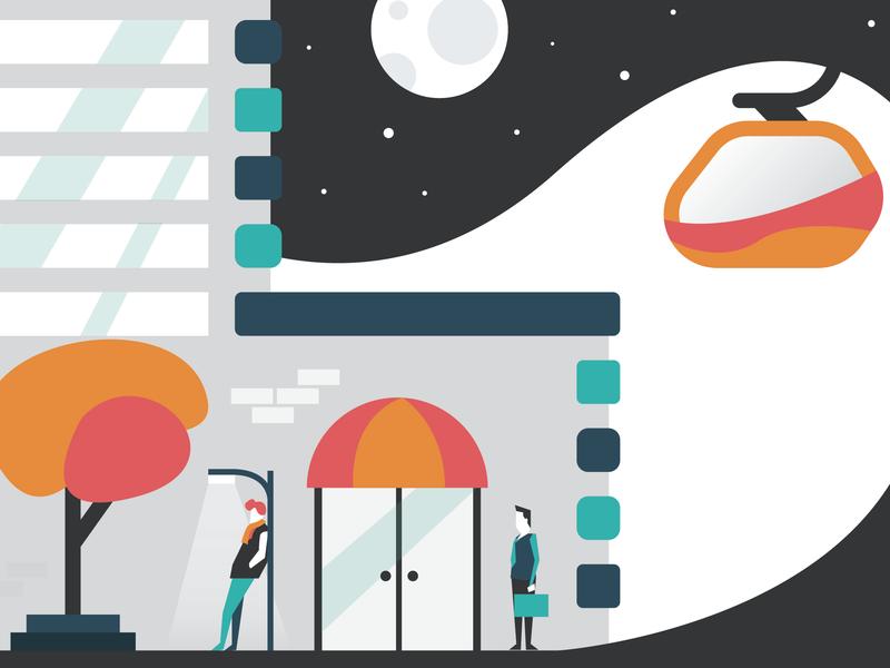 SkyTrail Postcard 2 stars flat night design branding vector illustration