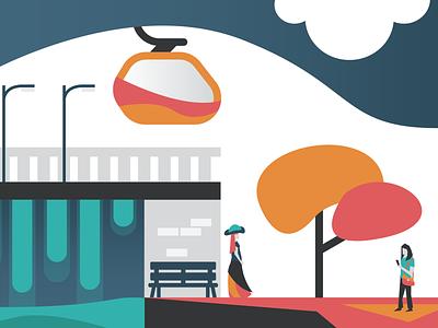 SkyTrail Postcard 3 flat branding vector design illustration