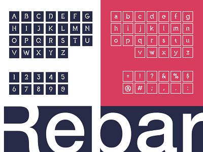Rebar characters font flat vector typography