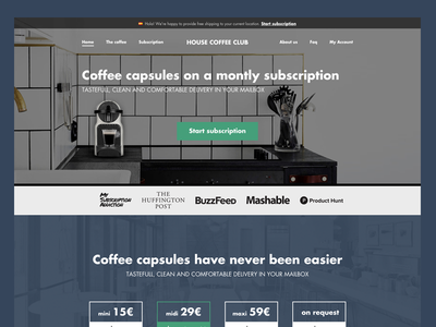 House Coffee Club - Subscription Website subscription ui website clean flat web home page webdesign design landing