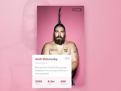 DailyUI #006 - User profile, The Fat Jew card color pink the fat jew user profile 006 dailyui