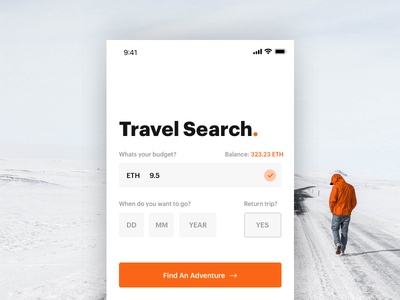 Travel Search for Crypto Currencies iphone x ios app apple crypto currencies orange adventure search travel crypto
