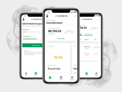Bamboo - Invest today's change in tomorrow cryptocurrency crypto round-up finance fintech ux ui product design mobile green app bamboo