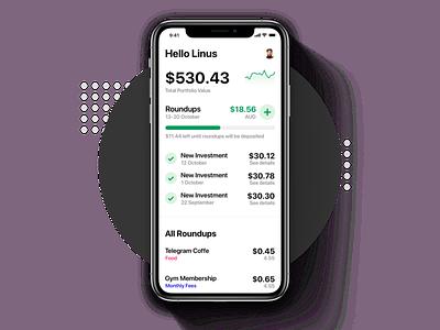 Get Bamboo - Effortless Investment money charts micro savings crypto fintech ui design ios app