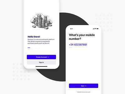 Get Bamboo - Onboarding input phone money app onboarding ui money onboarding fintech crypto ux app