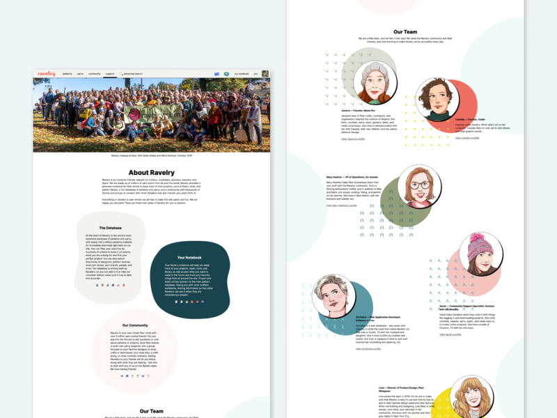 Ravelry Rebrand - New About Page branding illustration blue team page ui about