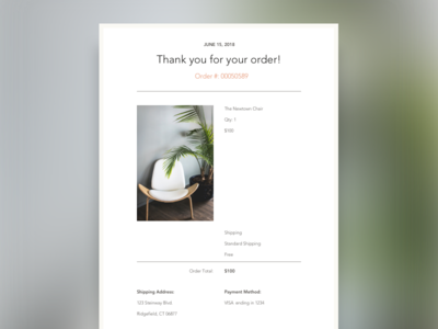 Daily UI 17: Email Receipt green blue furniture ecommerce brown beige warm neutrals orange email daily ui 17 daily ui